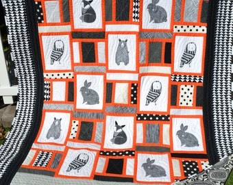 Modern Art Quilt Graphic Fox Owl Bear Pixel Woodland Animals Mod Hipster Funky Mid Century Modern Preppy Large Throw Small Twin Size Quilt