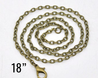 "200 Bronze Necklaces - WHOLESALE - Flat Link Chain - 18"" Long - Ships IMMEDIATELY from California - CH699e"