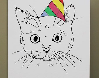 Animal Birthday Card - Cat - Hand drawn and printed in the UK