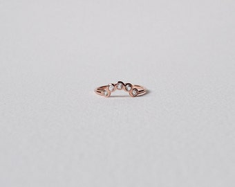 The Curve - White Topaz Stacking Ring, Curve Ring, Gifts for her