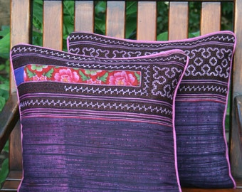 "Hmong Pillow, Ethnic Embroidery And Batik 16 ""  Boho Pillow Cushion, ** Free Worldwide Shipping **"