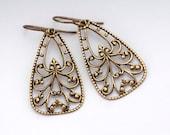 Filigree Brass Earrings, Nickel Free Antiqued Brass Jewelry, Openwork Brass Dangles, Brass Filigree Drops Metal, Hypoallergenic, Gezim