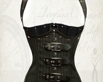 Black pin stripe underbust steampunk corset