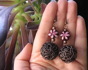 Polymer clay Statement earrings, Flower earrings, Statement jewelry, Flower jewelry, Antique Copper Earrings, Wire jewelry, Wire Earrings