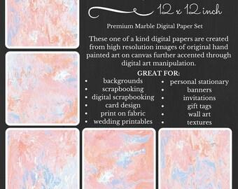 Premium Digital Paper Pack Marble Pastel Pink Orange Blue Printable Digital Paper Download Scrapbooking Paper Abstract Design