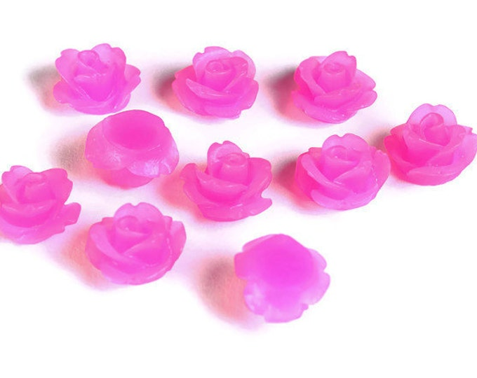 10mm Hot pink frosted flower cabochon - Magenta rosebud cabochon - Resin cabochons - 3d cabochons (1590) - Flat rate shipping