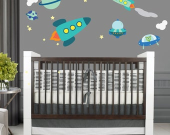 Rocket Space Wall Sticker Decals REUSABLE Fabric Ecofriendly NO PVCs Decals A104SD