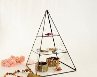 Glass Display Box, Stained Glass Display Box, Glass Pyramid, Pyramid Display Box, Clear Glass Pyramid with a glass shelf. Made To Order
