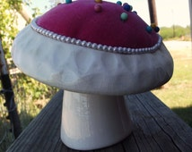Vintage Pink and white ceramic Pin Cushion / Sewing room Decor / Sewing Supply / retro / funky / kitschy / toad stool  / wonderland