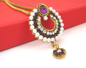 Purple Rhinestone And Pearl Pendant Set,Pearl Necklace Set