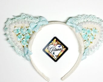 Lolita Cat Headband-Fairy kei-Lolita Headband-Cat Headband-Lolita-Lolita Classic-Gift For Her-Cat Ears-Mori kei-Harajuku-Hime-Kawaii