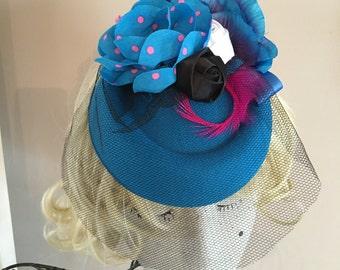 Turquoise pink black white Hat fascinator wedding races pin up polka dot
