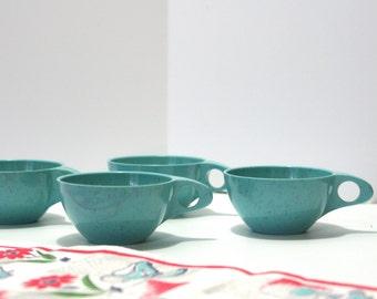 Vintage Holiday by Kenro Melamine Coffee Tea Cups Set of 4 speckled Melmac turquoise aqua