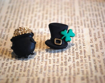 St. Patrick's Day Earrings -- St. Pattys Day Studs, Luck of the Irish, Pot of gold, Green Clover, Lucky Earrings