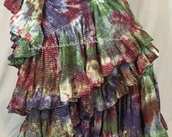 Lurex Belly dance skirt-tie dyed-25 yard renaissance,tribal bellydance, fusion,ATS,SCA