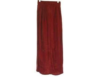 Vintage rich red wine high waist velvet maxi skirt size S 70s 90s goth