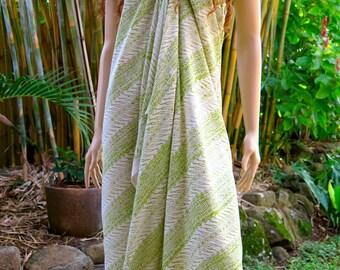 Hand Printed Green Sarong, Cover up, Pareo E