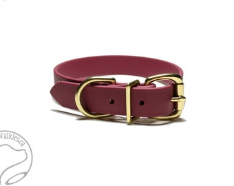 "Biothane Dog Collar - Wine Merlot - 1"" (25mm) wide - Stainless Steel or Solid Brass Hardware - leather look and feel - Custom Collar"