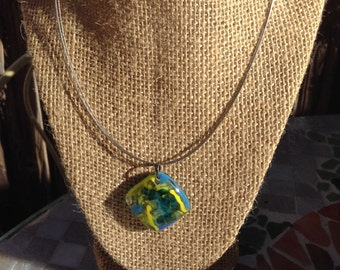 Blue and green fused glass Pendant necklace