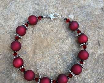 Red Bracelet with Black and Silver Accents #283