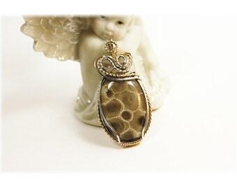 Petoskey Stone Jewelry / Petoskey Stone Pendant / Wire Wrapped Petoskey Stone