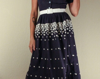40's Blue Cotton DAY DRESS with Embroidered Polka Dots // Shirtwaist Dress // Size Small