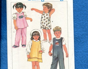 Vintage 1980's Simplicity 6730 Overalls & Romper for Little Kids Size 3 UNCUT