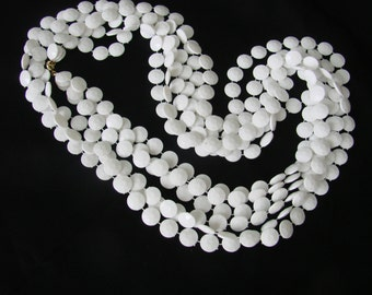 Vintage Boho Hippie White Flapper Lucite Bead Necklace / Opera Length / Jewelry / Jewellery