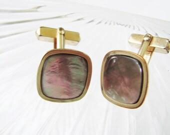 Retro Swank Abalone Gold Filled Cufflinks / Mid Century /  Designer Signed / Vintage Wedding / Jewelry / Jewellery