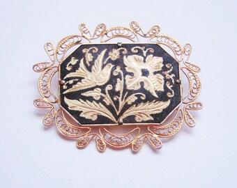 Vintage Damascene Filigree Brooch / Black Enamel / Gold Inlay / Bird / Flowers / Ornate / Jewelry / Jewellery