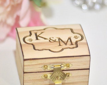 Personalized wooden ring bearer box with initials and date- small pocket ring bearer box