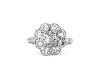 The Old Cut Diamond Daisy Ring - 18ct Gold 1.50ct Diamond Ring