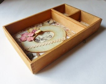 Memories of Mom Shadowbox, Three Sectioned Wooden Drawer Shadowbox Display