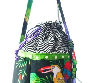 Lunch Bucket, Round Lunch Pail,  Cotton Tote, Round Bag, Tropical Tote, Parrot Tote, Medium Carry All