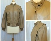 RESERVED Vintage 1980's Tan Leather Bomber Jacket // Extra Small / Small
