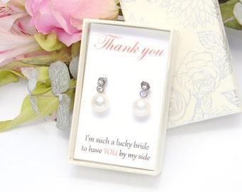 Bridesmaid Pearl Earrings Swarovski Pearls Simple Stud Cubic Zirconia Wedding Earrings Wedding Jewelry Bridal Earrings Bridesmaid Gifts K152