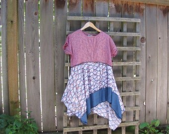 Upcycled Hippie Boho Lagenlook Tunic Shirt/ Funky Asymmetrical Rose Pink Floral Eco Blouse/ Hi Lo Womens Tops Size S