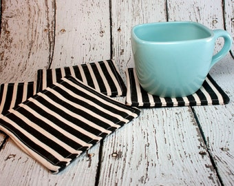 Black & White Striped Coasters, Set of 4