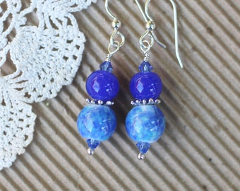 Lampwork Earrings, Lampwork Jewelry, Lampwork Bead Earrings, Blue Beads, Dangle Earrings, Sterling Silver