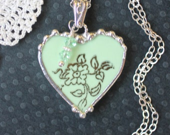 Necklace, Broken China Jewelry, Broken China Necklace, Heart Pendant, Mint Green Floral, Sterling Silver, Soldered Jewelry