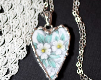 Necklace, Broken China Jewelry, Broken China Necklace, Heart Pendant, Aqua and White Floral China, Sterling Silver Chain, Soldered Jewely