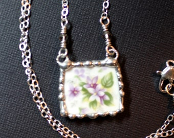 Necklace, Broken China Jewelry, Broken China Necklace, Purple Violets,  Sterling Silver Chain, Soldered Jewelry