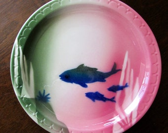 Shadowtone Fish Bowl Pattern Lunch Dessert Plate Syracuse China 1949