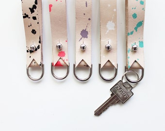 Leather Keychain - Splatter Print