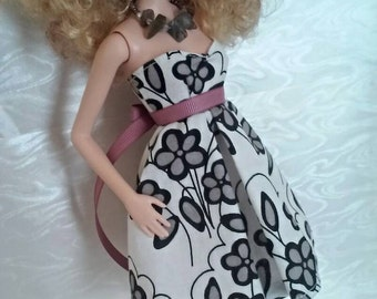 Strapless Babydoll Dress w/ Shoes for Barbie or similar fashion doll