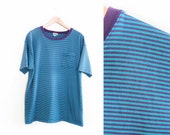 vintage t shirt / striped / oversize / thin / 1990s teal and purple thin striped pocket t shirt XL