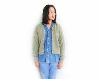 vintage cardigan / grandpa cardigan / grunge / 1960s sage green cardigan sweater XS - Small