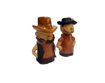 Vintage Salt and Pepper Shakers - Vintage Holt Howard Salt & Pepper Set, Western Hillbilly Cowboys, Wild West Shakers, Mid Century Modern