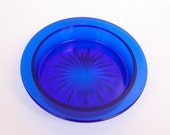 Antique Cobalt Blue Glass Bowl Starburst Pattern Round Depression Glass Vanity Blown Glass Trinket Dish