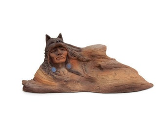 Vintage Neil J Rose Gift of the Wolf Sculpture Limited Edition Resin Figurine Native American Indian